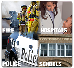 Fire Department, Hospital, Police Department, School montage