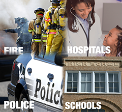 Public Safety, Hospital, School montage